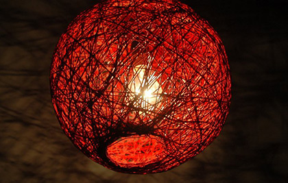 This lamp is made using string. It gives out interesting shadow forms.